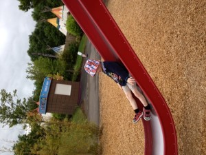 Enjoying the slides at the Pow Wow Playground