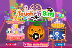Touch 'n Sing Home Screen (themed for Halloween!)