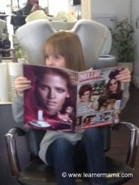 Emily hairdressers reading magazine